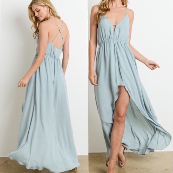 a0b7b8523e8 Dusty Blue Plunge Romper Maxi Cocktail Dress